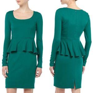 Neiman Marcus Long Sleeve Peplum Dress Emerald